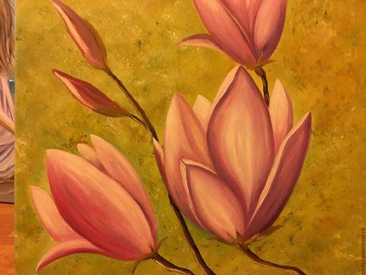 Картины цветов ручной работы. Ярмарка Мастеров - ручная работа. Купить Магнолии в цвету. Handmade. Розовый, цветы, весна