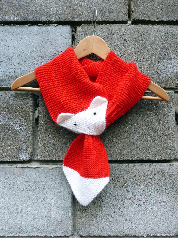 Шарф вязаный шерстяной Лиса рыжий Зверошарф, подарок на 8 Марта, Шарфы, Казань,  Фото №1