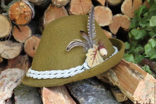 Шляпы ручной работы. Ярмарка Мастеров - ручная работа. Купить Тирольская, егерская шляпа для охотника. Handmade. Хаки, Шляпа валяная
