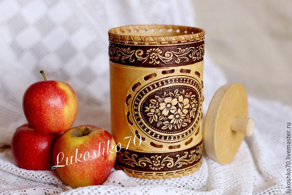 Birch bark basket Flowers. Jar for storing tea, sugar, spices, Jars, Tomsk,  Фото №1