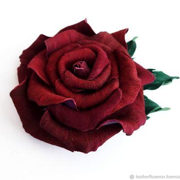 """Украшения ручной работы. Ярмарка Мастеров - ручная работа Роза бордо """"Красное вино"""", Цветок из кожи брошь, заколка.. Handmade."""