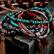 Украшения handmade. Livemaster - original item Multi-row bracelet for hand BOHO-chic suede