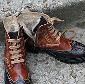 Обувь ручной работы handmade. Livemaster - original item Boots moccasin leather with uneven combined. Handmade.