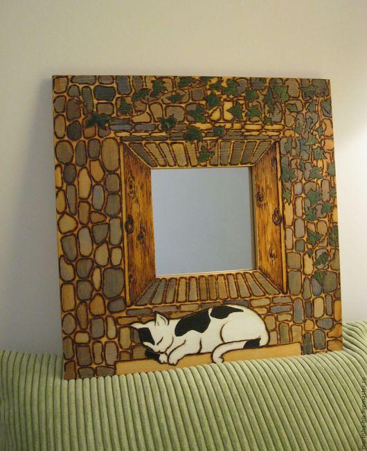 """Декорированные зеркальца ручной работы. Ярмарка Мастеров - ручная работа. Купить Рамка с зеркалом """"Кошка спящая"""". Handmade. Комбинированный"""