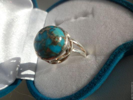 кольцо с бирюзой серебряное 925 пробы