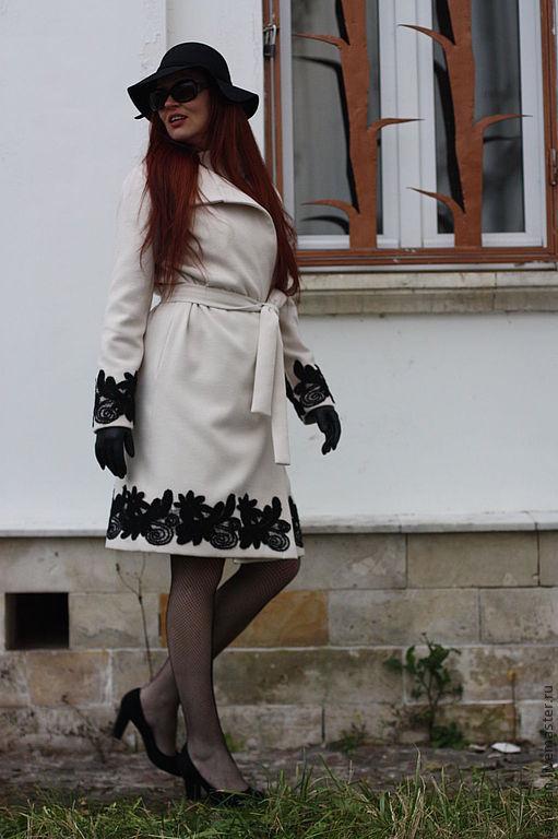 """Верхняя одежда ручной работы. Ярмарка Мастеров - ручная работа. Купить Пальто""""Модная Наталья"""". Handmade. Чёрно-белый, пальто демисезонное"""