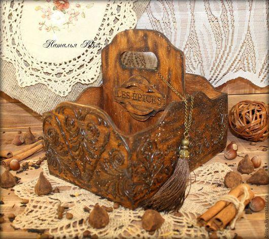 """Полки для специй ручной работы. Ярмарка Мастеров - ручная работа. Купить Короб для специй""""Сuisine"""". Handmade. Коричневый, кухня кантри"""