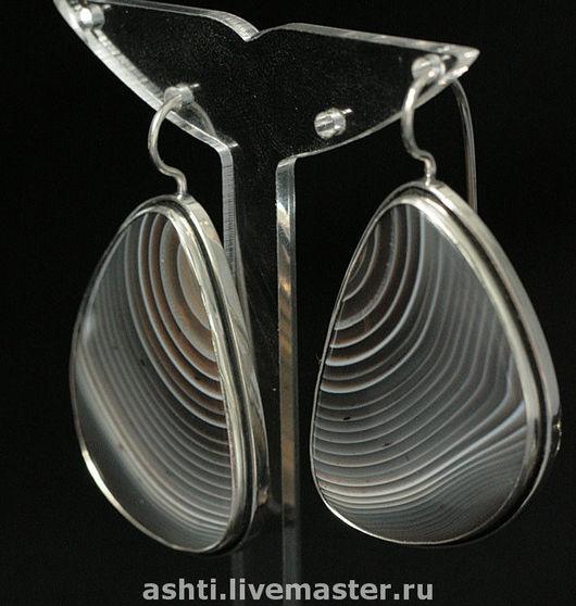 Серьги ручной работы. Ярмарка Мастеров - ручная работа. Купить Серьги с агатом - 98. Handmade. Коричневый, серебро, агат, серебро