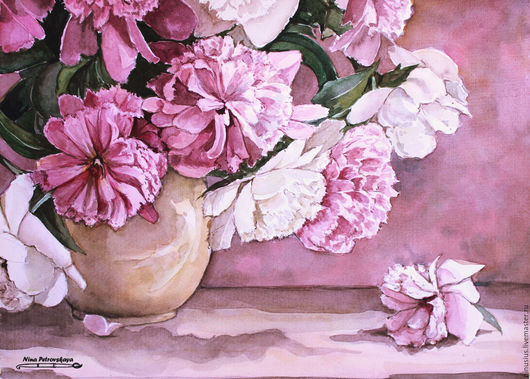 Картины цветов ручной работы. Ярмарка Мастеров - ручная работа. Купить Пионы. Handmade. Брусничный, пионы, цветы, лето, натюрморт