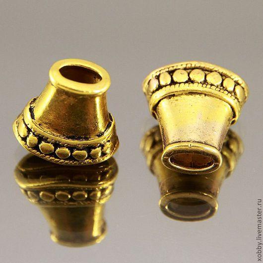 Шапочки концевики для бусин в виде приплюснотого конуса с орнаментом в виде заклепок в тибетском стиле Цвет античное золото Материал цинковый сплав