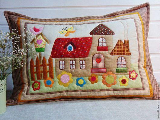 """Текстиль, ковры ручной работы. Ярмарка Мастеров - ручная работа. Купить Наволочка """"Милый дом"""" подарок на любой случай. Handmade."""