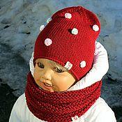 """Работы для детей, ручной работы. Ярмарка Мастеров - ручная работа """"Цветные пузырьки!)))""""-бордовые шапочка+снуд для Натальи. Handmade."""