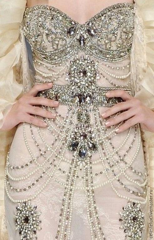 Платья ручной работы. Ярмарка Мастеров - ручная работа. Купить Платье с кристаллами, стразами и жемчугом  Сaroline детали. Handmade.