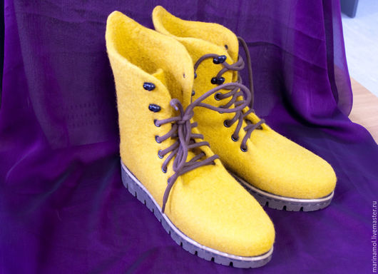 """Обувь ручной работы. Ярмарка Мастеров - ручная работа. Купить Валяные ботинки """"Горчица"""". Handmade. Оранжевый, валенки ручной работы"""