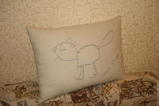 Текстиль, ковры ручной работы. Ярмарка Мастеров - ручная работа. Купить Подушка из ткани по рисункам Вашего ребенка. Handmade. Серый