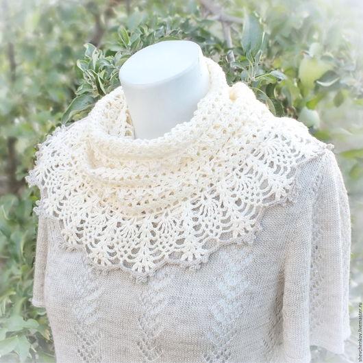 шарф вязаный женский, шарф ажурный на шею, шарф снуд.