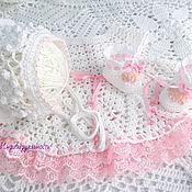 Работы для детей, handmade. Livemaster - original item Tenderness(plaid,dress,bonnet,booties). Handmade.