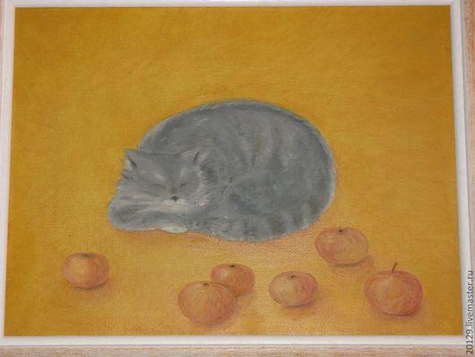 """Животные ручной работы. Ярмарка Мастеров - ручная работа. Купить Картина """"Мурка """". Handmade. Желтый, яблоки, наив, интерьер"""