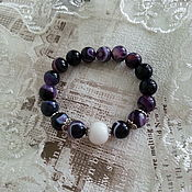 Украшения handmade. Livemaster - original item Bracelet purple agate with white band, happiness. Handmade.