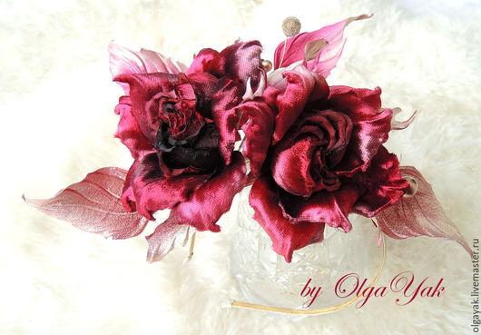Свадебные украшения ручной работы. Ярмарка Мастеров - ручная работа. Купить Цветы из ткани. Цветы из шелка. Ободок с розами. Handmade.