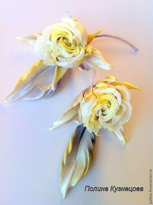 """Броши ручной работы. Ярмарка Мастеров - ручная работа. Купить Роза """"Дотти"""". Handmade. Цветы из ткани, цветы из ткани обучение"""
