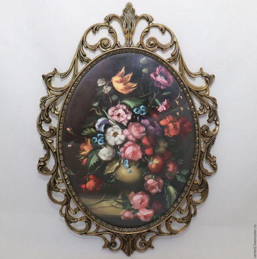 Винтажные предметы интерьера. Ярмарка Мастеров - ручная работа. Купить Рамка рама картина цветы латунь Италия 38. Handmade.
