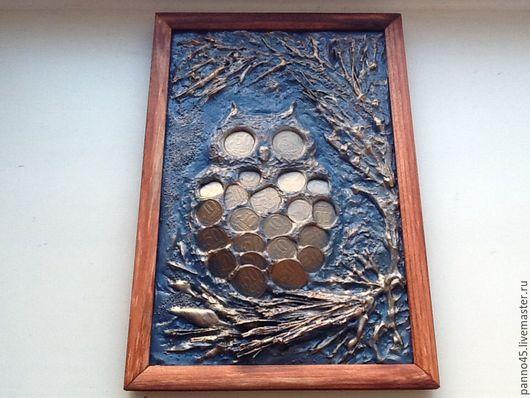 """Абстракция ручной работы. Ярмарка Мастеров - ручная работа. Купить Объемное панно из монет  - """" сова на ветке"""". Handmade. Монеты"""