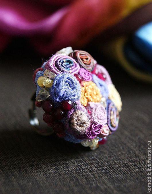 """Кольца ручной работы. Ярмарка Мастеров - ручная работа. Купить кольцо """"Ягодный конфитюр"""", агатом и кварцем. Handmade. Фиолетовый, сиреневый"""