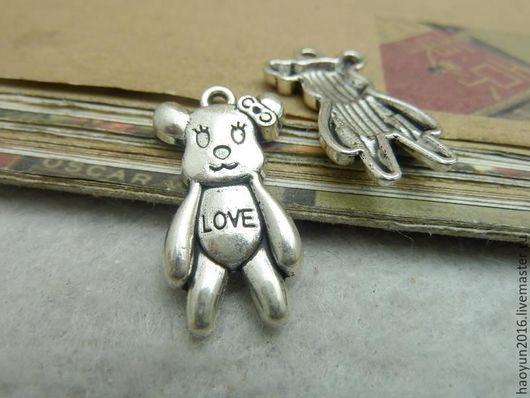 Для украшений ручной работы. Ярмарка Мастеров - ручная работа. Купить 20 шт металлические подвески старинное серебро Медведь C7156. Handmade.
