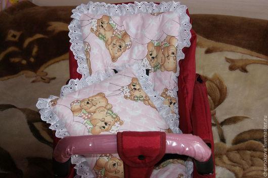 Для новорожденных, ручной работы. Ярмарка Мастеров - ручная работа. Купить Матрасик - сиденье и подушка  в коляску. Handmade. Розовый, в коляску