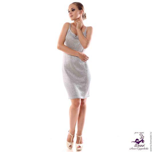 """Платья ручной работы. Ярмарка Мастеров - ручная работа. Купить Платье-майка """"Расплавленное серебро"""" вязаное из мягчайшей итальянской. Handmade."""
