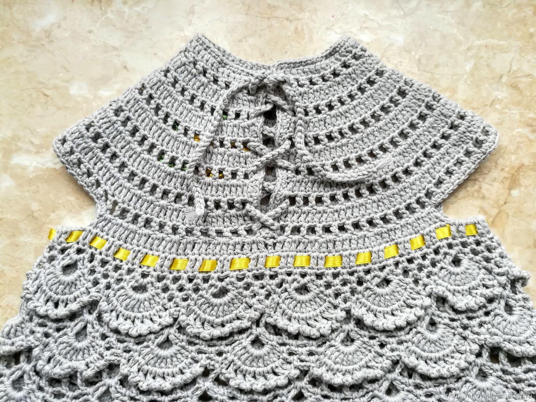 Вязаное летнее платье Серебряный дождь для девочки 1 - 2 лет крючком
