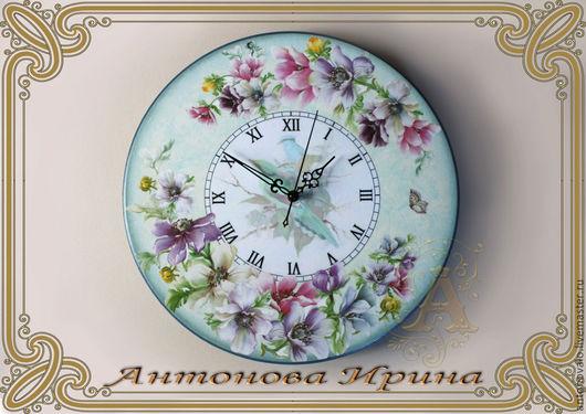 """Часы-""""Райский сад"""",для дома ручной работы.Антонова Ирина.Ярмарка Мастеров."""