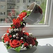 Цветы и флористика ручной работы. Ярмарка Мастеров - ручная работа Букет розы изобилия. Handmade.