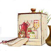 """Для дома и интерьера ручной работы. Ярмарка Мастеров - ручная работа Короб для дома и интерьера кухни"""" Нюанс в стиле ретро"""" в горошек. Handmade."""
