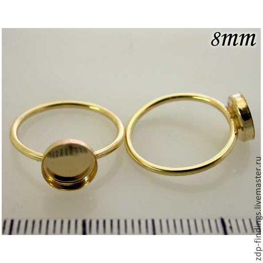 Для украшений ручной работы. Ярмарка Мастеров - ручная работа. Купить Основа Gold filled для кольца с кабошоном 8мм (R8GF). Handmade.