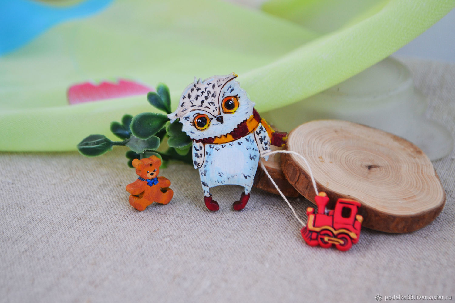 Wooden owl brooch, Brooches, Moscow,  Фото №1