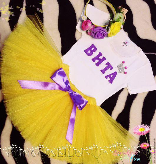 """Одежда для девочек, ручной работы. Ярмарка Мастеров - ручная работа. Купить Комплект именинницы """"Желтая Цветочная Конфетка"""" (боди, юбка, ободок). Handmade."""