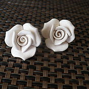 """Украшения ручной работы. Ярмарка Мастеров - ручная работа фарфор """" белые розы"""" серьги. Handmade."""