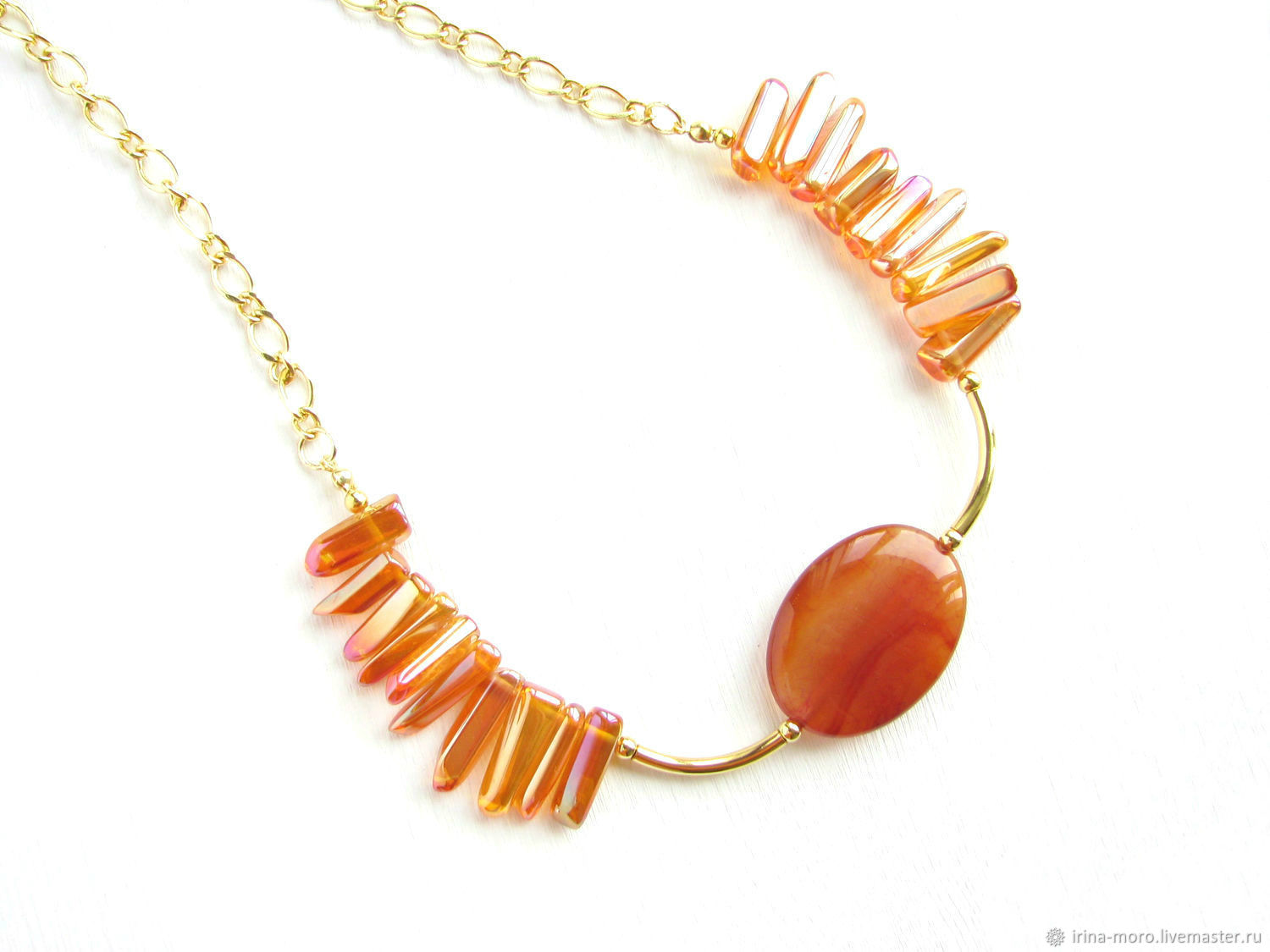 Orange necklace with quartz 'amber radiance' summer necklace, Necklace, Moscow,  Фото №1