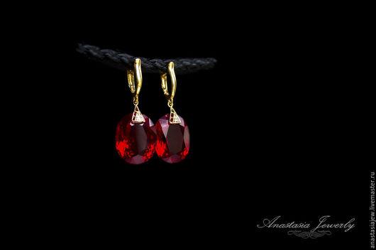 """Серьги ручной работы. Ярмарка Мастеров - ручная работа. Купить Серебряные серьги """"Рубиновые"""". Handmade. Ярко-красный, серьги с камнями"""