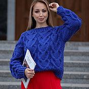 Одежда handmade. Livemaster - original item Jerseys: Women`s large knit sweater with braids oversize cornflower blue. Handmade.
