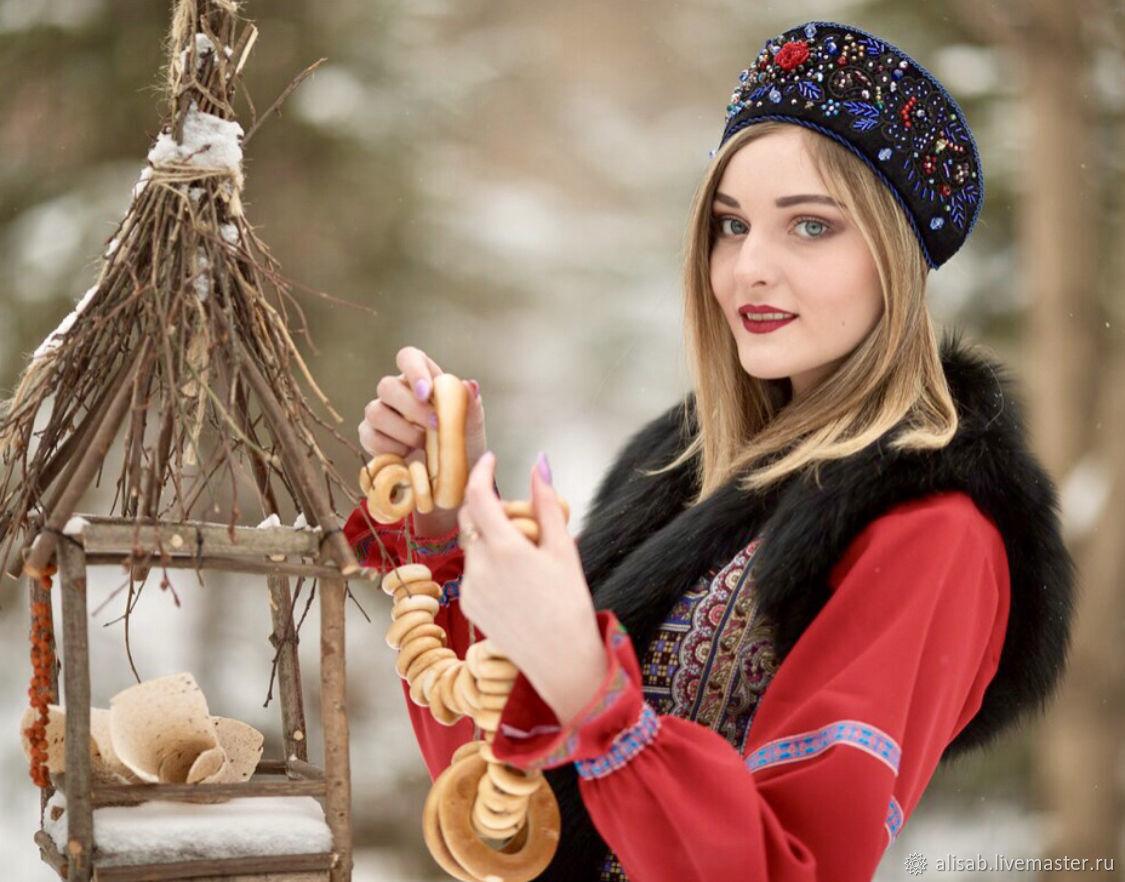 """Бархатный кокошник с вышивкой """"Настасья"""", Народные украшения, Москва, Фото №1"""