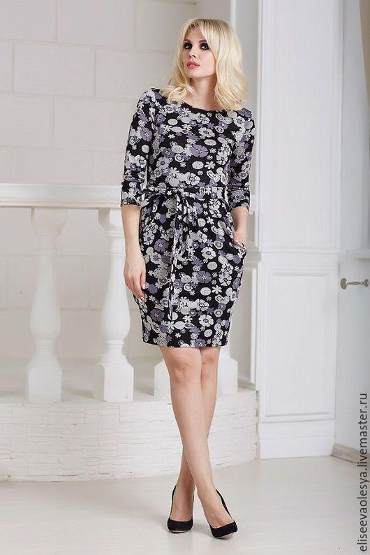Платья ручной работы. Ярмарка Мастеров - ручная работа. Купить Интересное платье 24034. Handmade. Чёрно-белый, платье трикотажное
