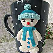 Посуда handmade. Livemaster - original item Mug snowman. Mug ceramic. Snowman. NEW YEAR. Handmade.