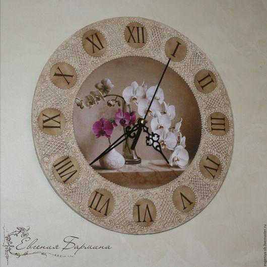 """Часы для дома ручной работы. Ярмарка Мастеров - ручная работа. Купить Часы """"Орхидея"""" Картинка любая. Handmade. Бежевый"""