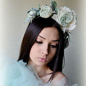 Украшения handmade. Livemaster - original item Silk flowers headband Princess Mint. Handmade.