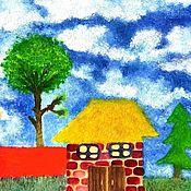 Картины и панно ручной работы. Ярмарка Мастеров - ручная работа домик в деревне. Handmade.
