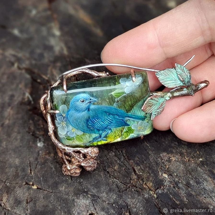 Синяя птица счастья, Брошь-булавка, Москва,  Фото №1
