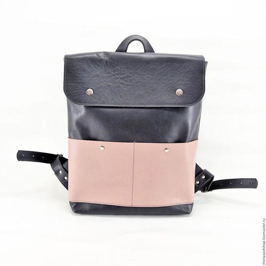 Рюкзаки ручной работы. Ярмарка Мастеров - ручная работа. Купить Серый рюкзак с пыльно-розовым карманом. Handmade. Рюкзак женский